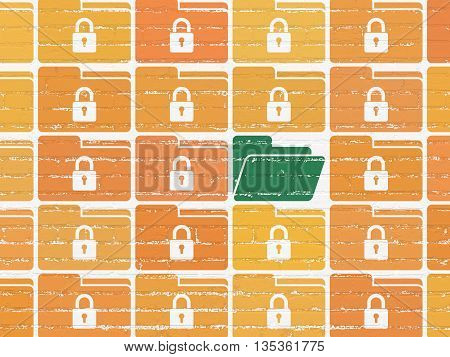 Protection concept: rows of Painted orange folder with lock icons around green folder icon on White Brick wall background