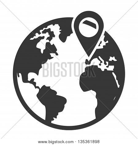 simple grey and white earth globe with land and water distinction and gps pin vector illustration