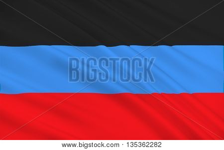 Flag of Donetsk Peoples Republic (DPR or DNR) is a self-proclaimed state in the Donetsk Oblast of Ukraine. 3d illustration