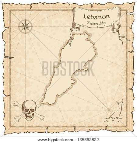 Lebanon Old Pirate Map. Sepia Engraved Template Of Treasure Map. Stylized Pirate Map On Vintage Pape