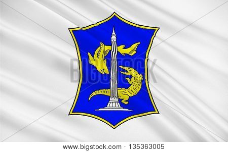 Flag of Surabaya located on northeastern Java island and along the edge of the Madura Strait and the second-largest-city in Indonesia. 3D illustration