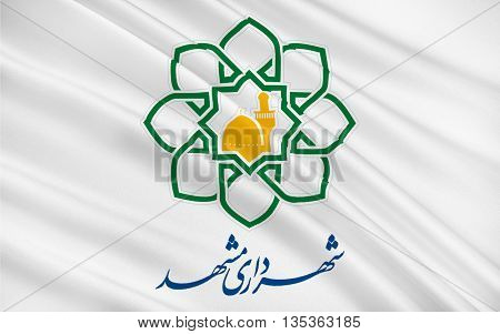 Flag of Mashhad is the second most populous city in Iran and capital of Razavi Khorasan Province. 3D illustration