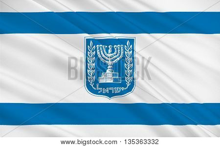 Flag of Israel officially the State of Israel is a country in the Middle East on the southeastern shore of the Mediterranean Sea and the northern shore of the Red Sea. 3D illustration