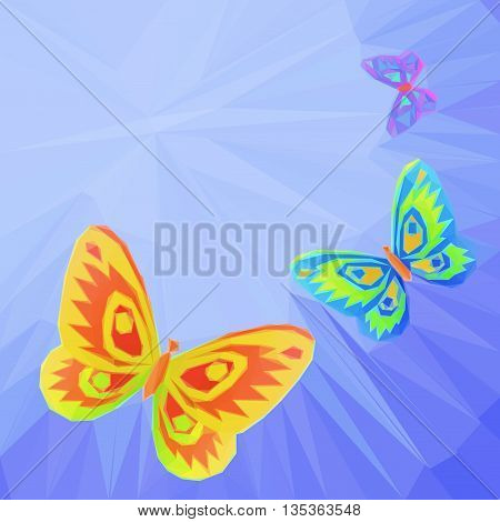 Colorful Butterflies Fly in the Blue Summer Solar Sky with Beams, Low Poly Polygonal Background. Vector