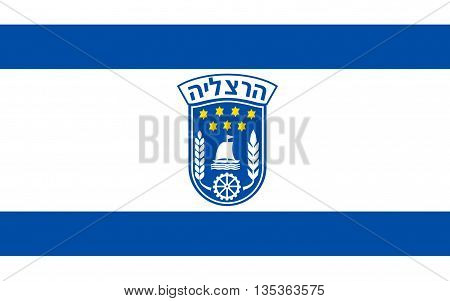 Flag of Herzliya is an affluent city in the central coast of Israel.