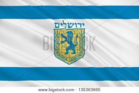 Flag of Jerusalem located on a plateau in the Judean Mountains between the Mediterranean and the Dead Sea is one of the oldest cities in the world. 3d illustration