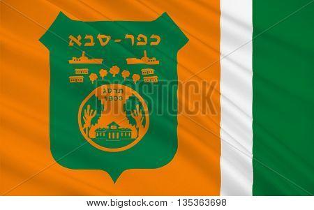 Flag of Kfar Saba officially Kfar Sava is a city in the Sharon region of the Center District of Israel. 3d illustration