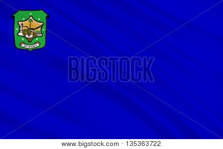 Flag of Ramat Gan is a city in the Tel Aviv District of Israel located east of Tel Aviv. 3d illustration