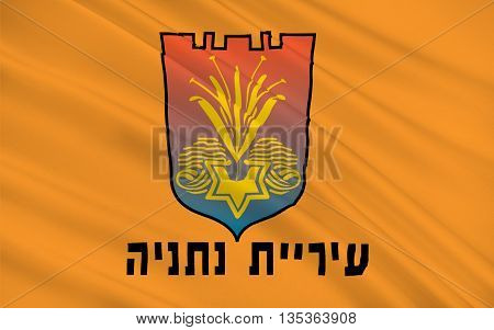 Flag of Netanya is a city in the Northern Central District of Israel and is the capital of the surrounding Sharon plain. 3d illustration