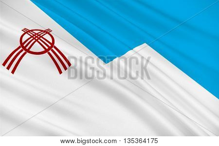 Flag of Osh is the second largest city in Kyrgyzstan located in the Fergana Valley in the south of the country and often referred to as the capital of the south. 3d illustration