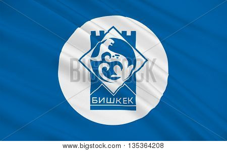 Flag of Bishkek formerly Pishpek and Frunze is the capital and largest city of the Kyrgyz Republic. 3d illustration