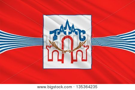 Flag of Talas Province is a province (oblast) of Kyrgyzstan. Its capital is Talas. 3d illustration