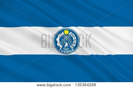 Flag of Tokmok is a city in northern Kyrgyzstan. 3d illustration