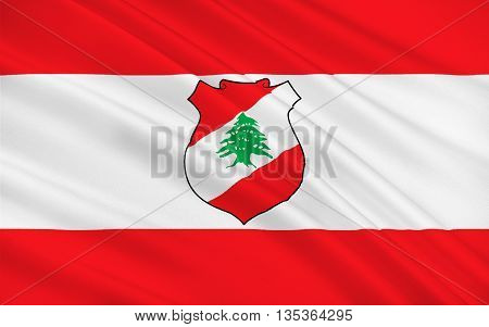 Flag of Lebanon officially the Lebanese Republic is a sovereign state in Western Asia. 3d illustration