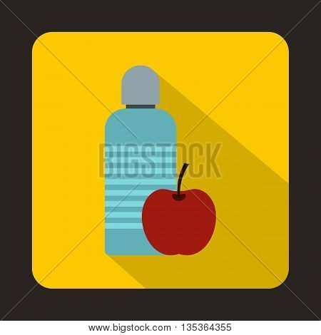 Bottle of water and red apple icon in flat style on a yellow background