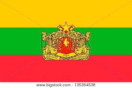 Flag of Myanmar officially the Republic of the Union of Myanmar and also known as Burma is a sovereign state in Southeast Asia.