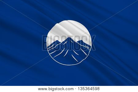 Flag of Kachin State is the northernmost state of Myanmar. 3D illustration
