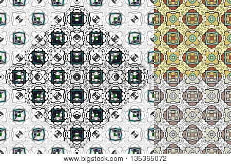 Vector set of decorative seamless patterns. Interesting effect of blurred backdrop. Elegant background wrapping paper or textile for spring fashion.