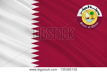Flag of Qatar officially the State of Qatar is a sovereign country located in Southwest Asia occupying the small Qatar Peninsula on the northeastern coast of the Arabian Peninsula. 3d illustration