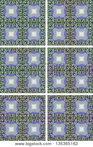 Vector set of seamless checkered patterns with colorful leaves.