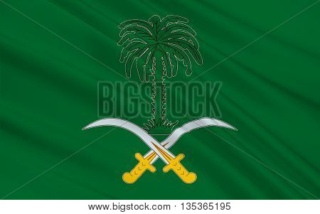 Flag of Saudi Arabia is an Arab state in Western Asia constituting the bulk of the Arabian Peninsula. 3D illustration