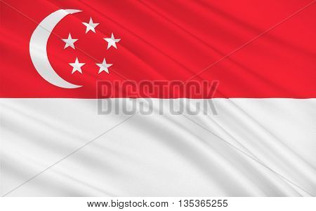 Flag of Singapore officially the Republic of Singapore is a global city and sovereign state in Southeast Asia. 3d illustration