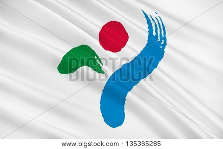 Flag of Seoul officially the Seoul Special City is the capital and largest metropolis of South Korea forming the heart of the Seoul Capital Area. 3D illustration