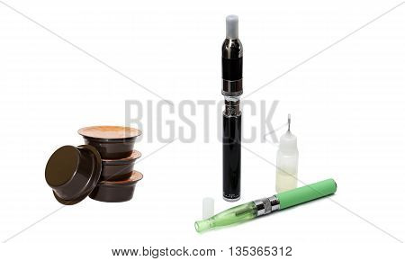 Capsules Of Coffee And Electronic Cigarettes