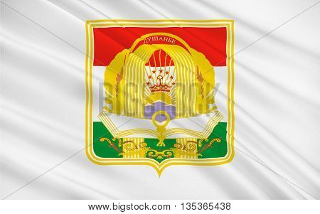Flag of Dushanbe is the capital and largest city of Tajikistan. 3d illustration