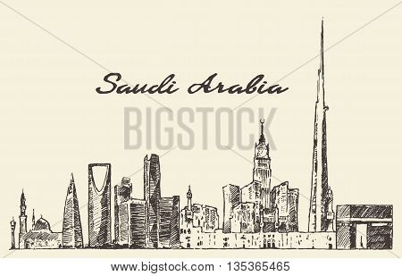 Skyline of Saudi Arabia vintage vector engraved illustration hand drawn sketch