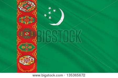 Flag of Turkmenistan is a country in Central Asia. 3d illustration