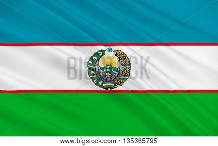 Flag of Uzbekistan officially the Republic of Uzbekistan is a doubly landlocked country in Central Asia. 3D illustration