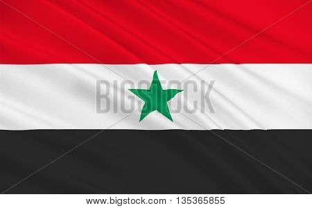Flag of Yemen Arab Republic also known as North Yemen. Its capital was at Sana'a. 3D illustration