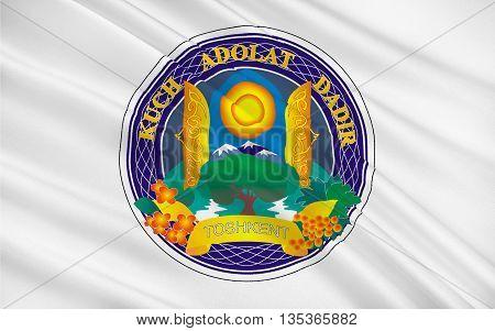 Flag of Tashkent is the capital and largest city of Uzbekistan. 3D illustration
