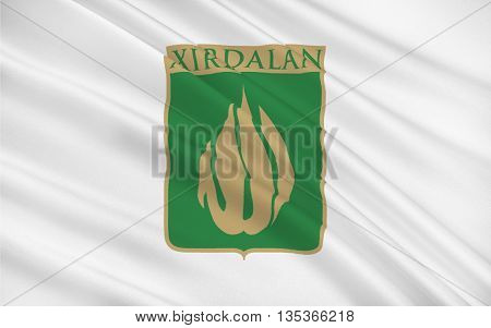 Flag of Xırdalan is a city and municipality in and the capital of the Absheron Rayon of Azerbaijan 3D illustration