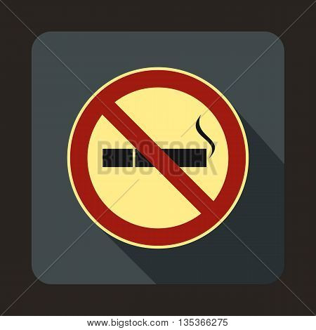 No smoking sign icon in flat style on a gray background