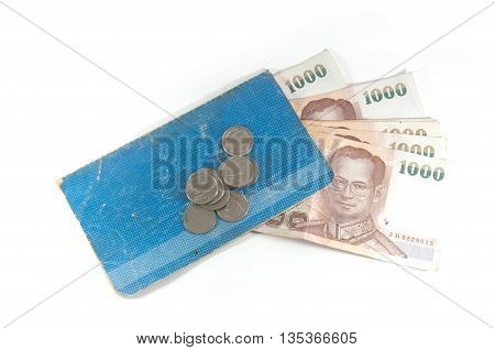 Thailand blue passbook and Thai money for saving