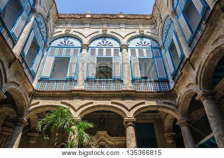 Patio Of Colonial Building, Habana Vieja, Cuba