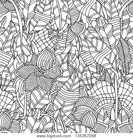 Seamless Pattern for coloring book. Ethnic floral retro doodle vector tribal design element. Black and white background.