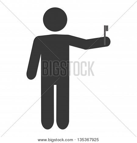 simple grey man pictogram holding toothbrush vector illustration