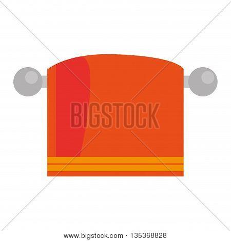 flat design orange towel on hanger icon vector illustration