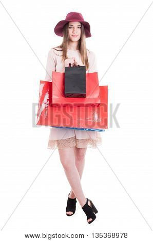 Pretty Trendy Woman Showing Black And Red Shopping Bags