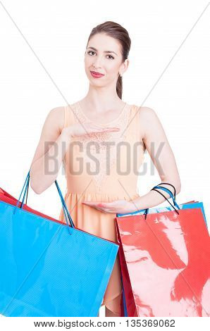 Young Lady Shopper Showing Copy Space With Hands