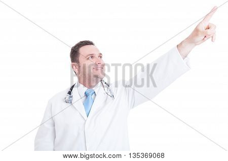 Male Doctor Or Medic Looking And Pointing Up Feeling Positive