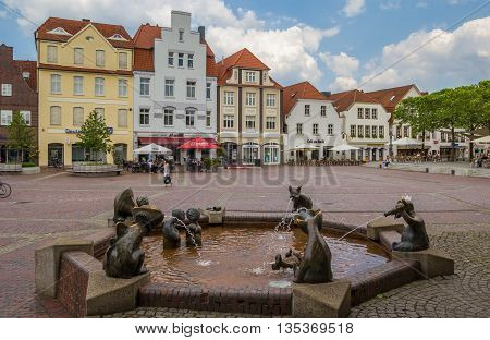 LINGEN, GERMANY - JUNE 4, 2016: Fountain at the central market square in Lingen, Germany