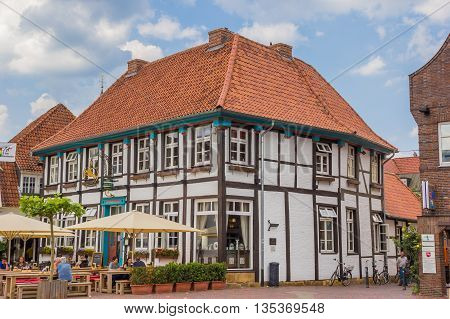 LINGEN, GERMANY - JUNE 4, 2016: Half timbered house at the central square in Lingen, Germany