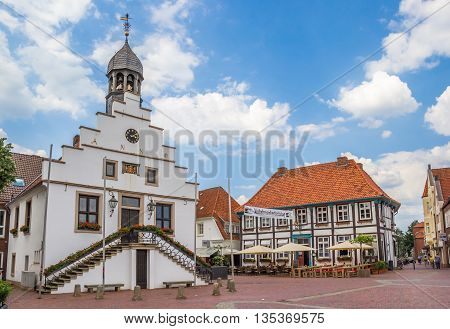 LINGEN, GERMANY - JUNE 4, 2016: Town hall on the market square of Lingen, Germany