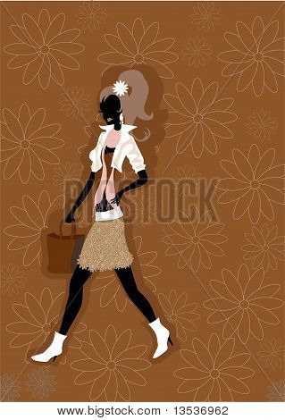 Walking Young Woman Silhouette