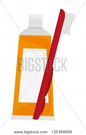 flat design yellow toothpaste with toothbrush icon vector illustration