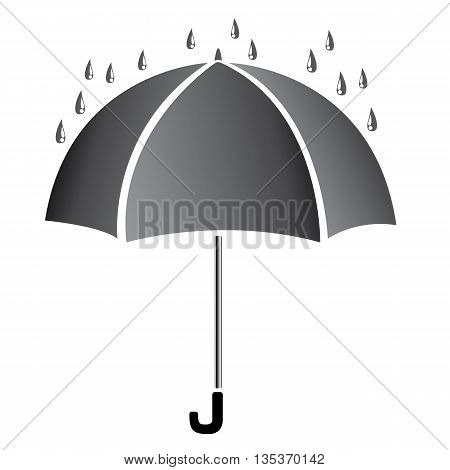 Umbrella with water. Black umbrella isolated on white background. Black Umbrella.